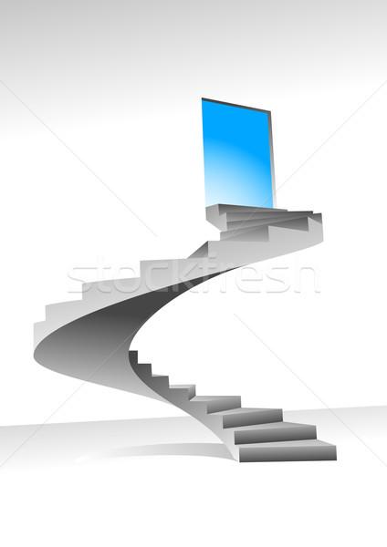 Lépcsősor csillogás ajtó felfelé fényes ragyogó Stock fotó © vectorArta