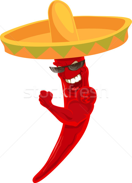 Fort chili sombrero tatouage alimentaire rouge Photo stock © vectorArta