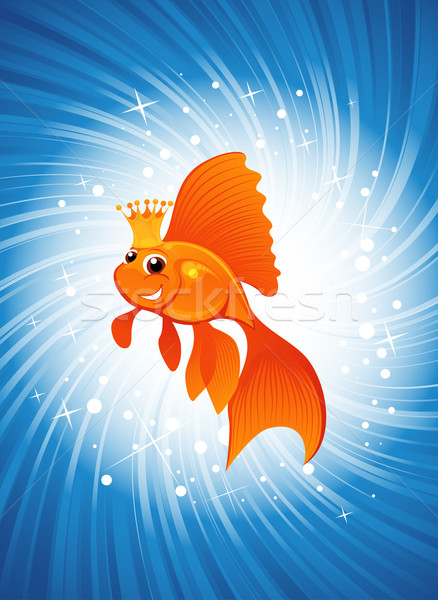 goldfish on shine blue Stock photo © vectorArta
