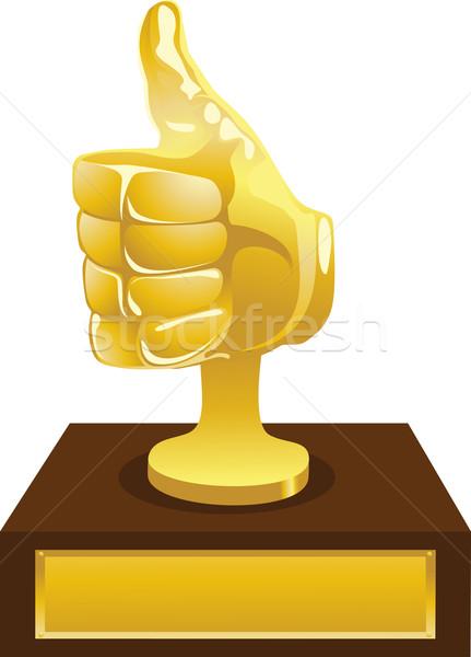 Arany díj hüvelykujj felfelé művészet stílus Stock fotó © vectorArta