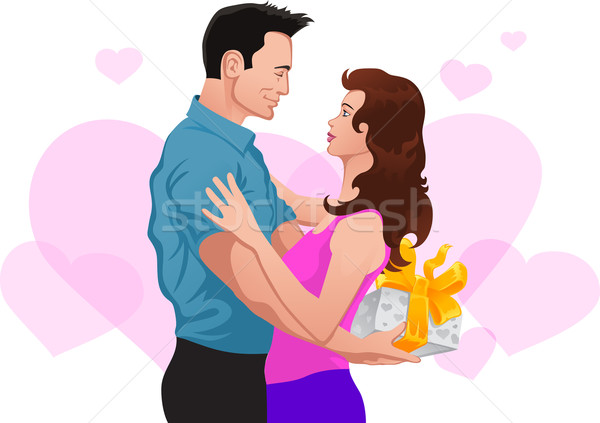 Couple in love. Man gives a gift to woman Stock photo © vectorArta