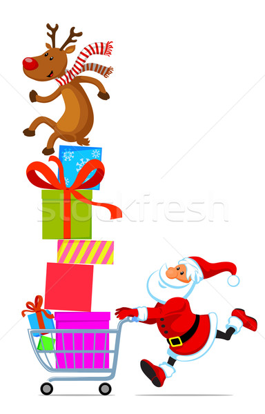 Santa with shopping cart full of gifts Stock photo © vectorArta