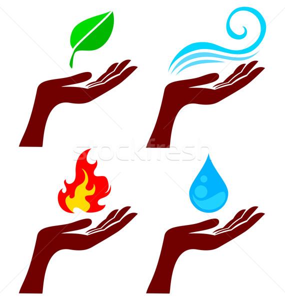 Kéz természet elemek négy alkotóelem fa Stock fotó © vectorArta