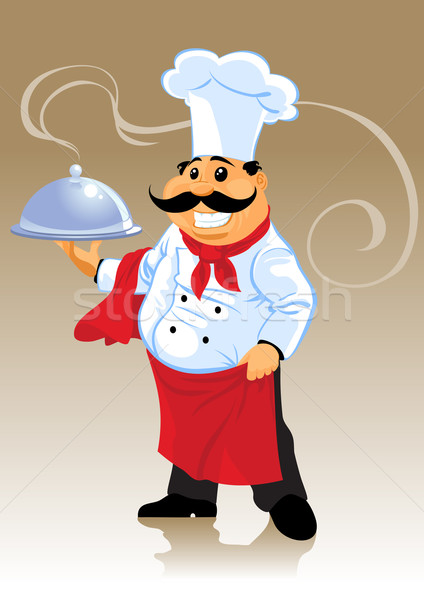 chef cook and plate Stock photo © vectorArta