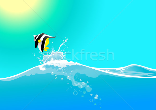 water wave and jumping fish Stock photo © vectorArta