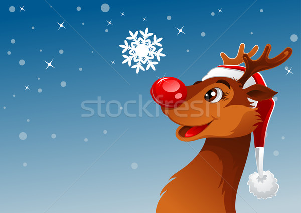 Reindeer and snowflake Stock photo © vectorArta