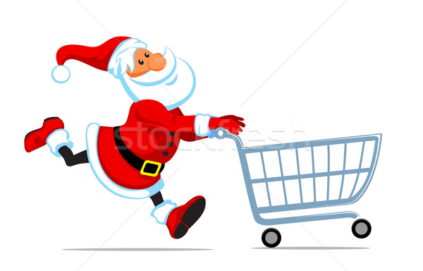 Santa run with shopping cart Stock photo © vectorArta