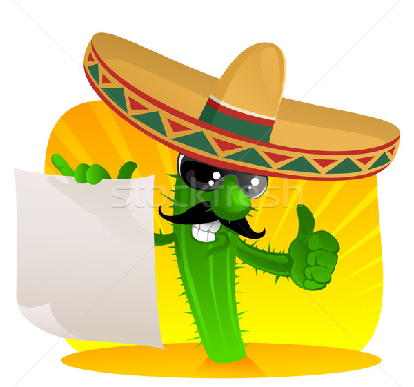 mexican cactus with scroll Stock photo © vectorArta