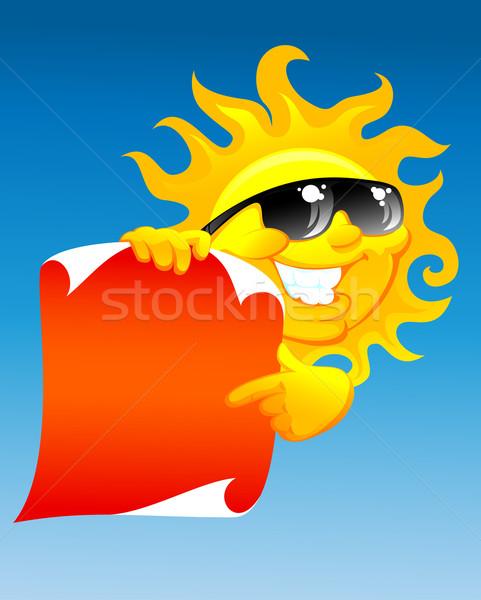 Sole scorrere cartoon rosso sorriso blu Foto d'archivio © vectorArta
