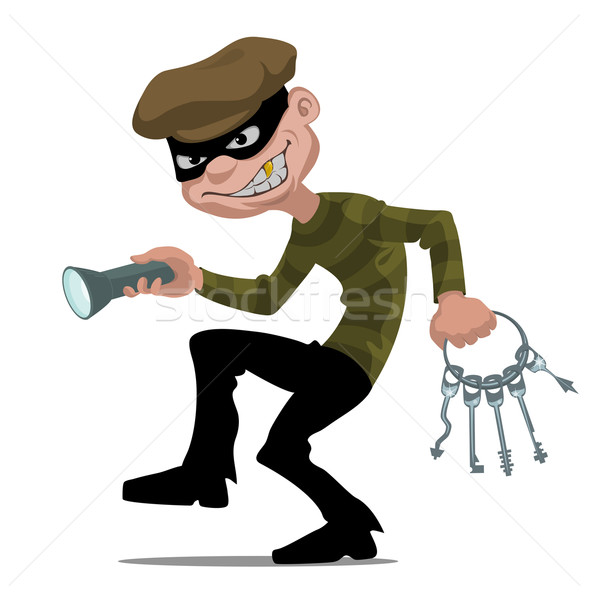 Cartoon dief skelet sleutel masker Stockfoto © vectorArta