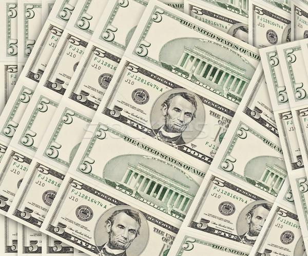 Dollár öt bankjegyek pénz nyomtatás pénzügyi Stock fotó © Vectorex