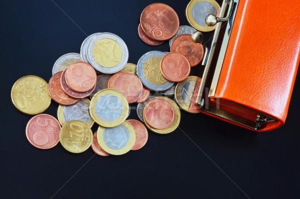Argent européenne pièces autour ouvrir bourse Photo stock © Vectorex