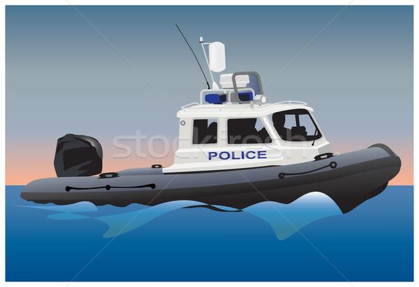 Police bateau à moteur côte garde surface de l'eau vecteur Photo stock © Vectorex