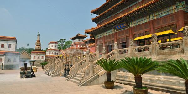 Templom fő- kilátás fából készült Buddha panorámakép Stock fotó © Vectorex