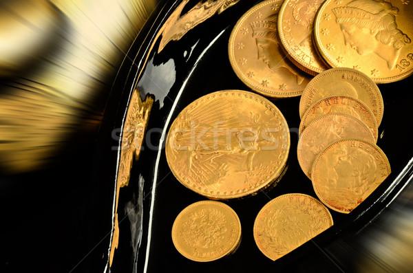 Arany érmék kevés öreg arany érmék fekete Stock fotó © Vectorex