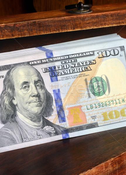 Megtakarított pénz amerikai dollár fából készült fiók üzlet Stock fotó © Vectorex