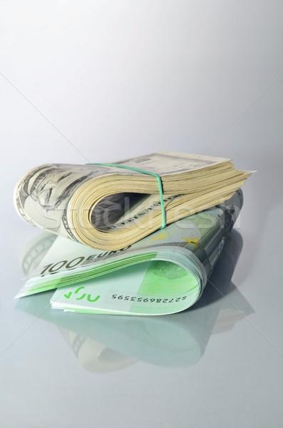 Valuta összehajtva boglya amerikai dollár európai Stock fotó © Vectorex
