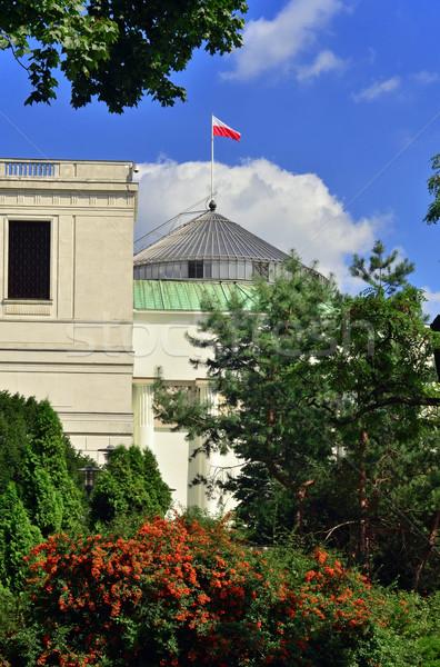 Parlament nyár kilátás Varsó égbolt növény Stock fotó © Vectorex