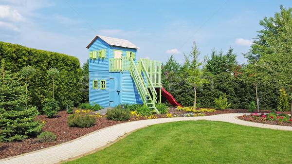 Jouer maison jardin bois enfants coin Photo stock © Vectorex