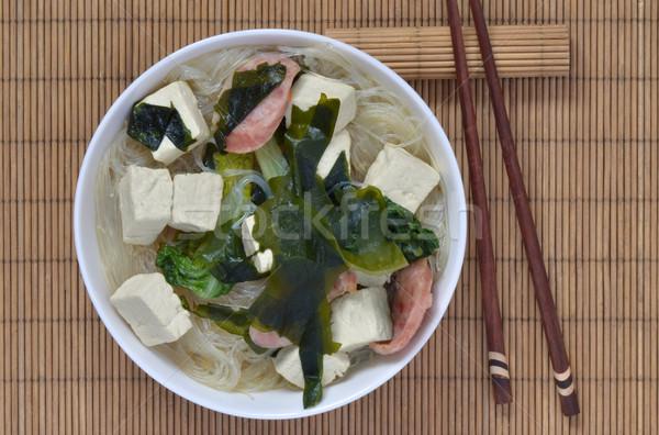 Kínai edény tofu hínár disznóhús zöld Stock fotó © Vectorex