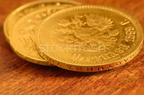 Золотые монеты старое дерево русский десять значение монеты Сток-фото © Vectorex