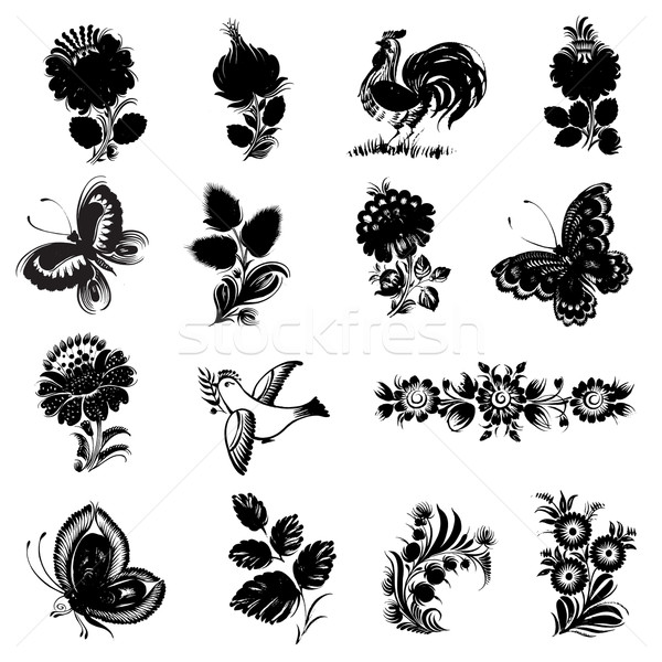 set of black silhouette Stock photo © VectorFlover