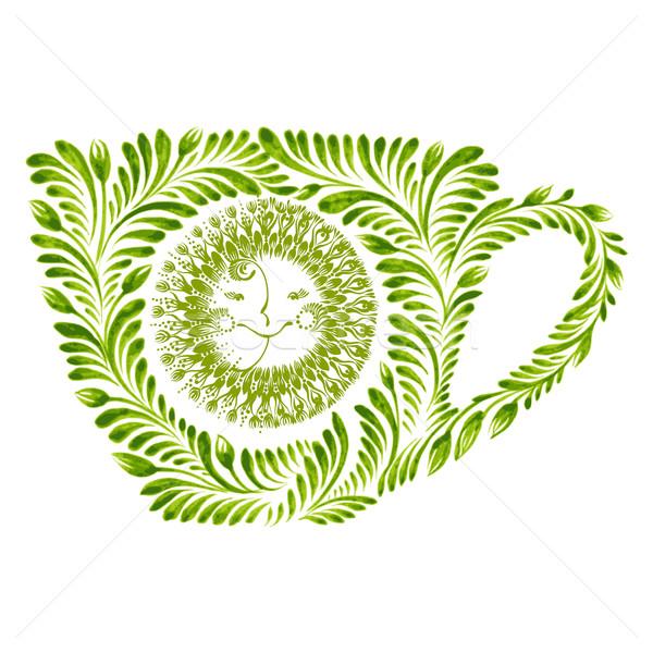 Decoratief ornament theekopje illustratie zon Stockfoto © VectorFlover
