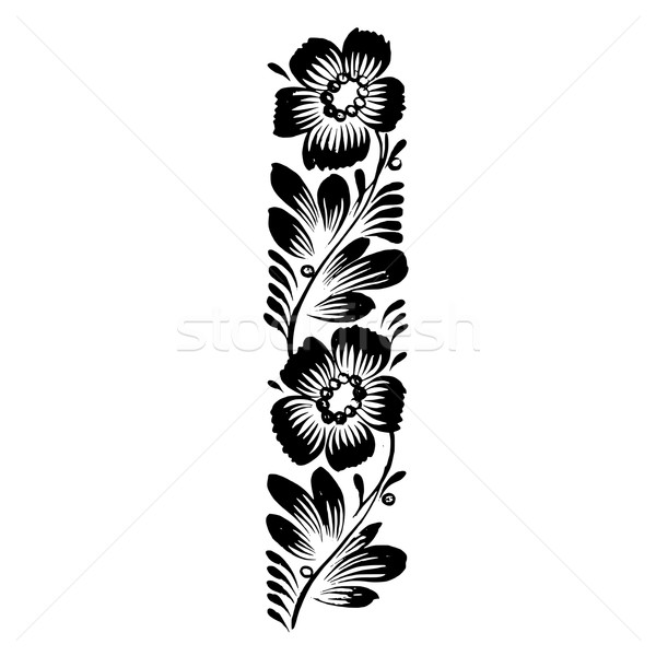 decorative silhouette of floral decoration Stock photo © VectorFlover