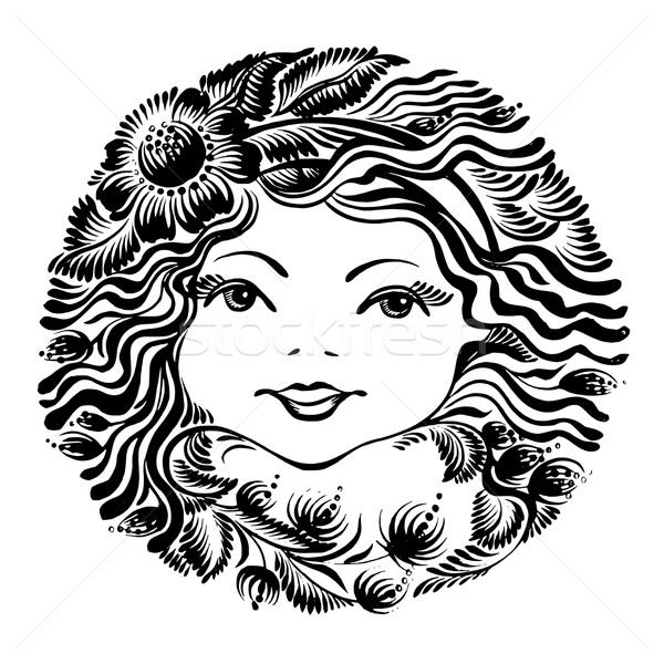 decorative floral silhouette of a woman face Stock photo © VectorFlover