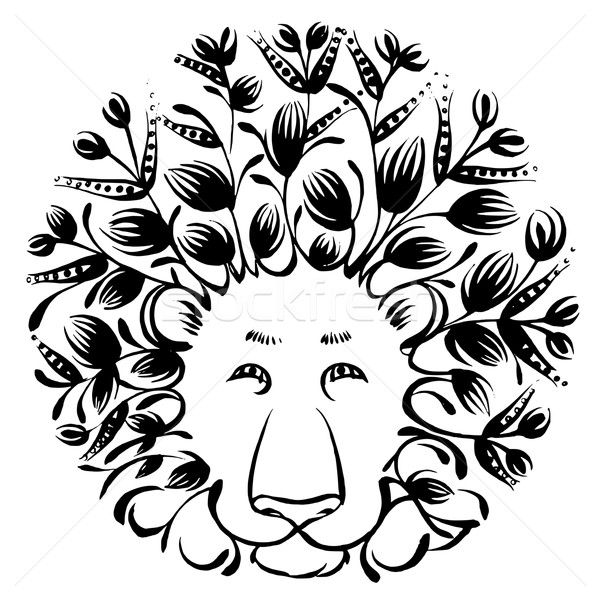 decorative silhouette of lion Stock photo © VectorFlover