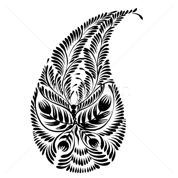 decorative silhouette of a floral paisley Stock photo © VectorFlover