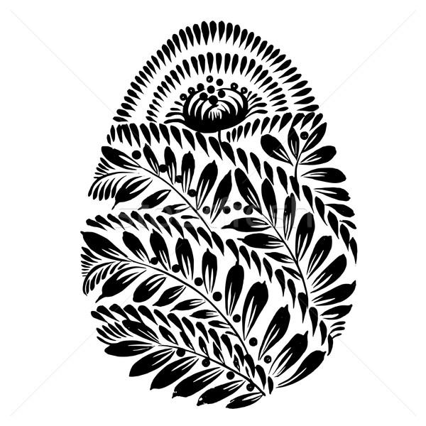 декоративный цветочный силуэта пасхальное яйцо вектора художественный Сток-фото © VectorFlover