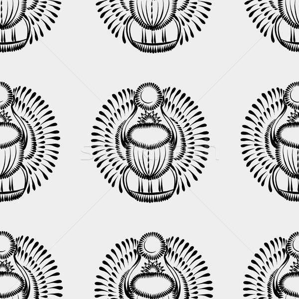 Preto e branco escaravelho besouro Egito flor Foto stock © VectorFlover