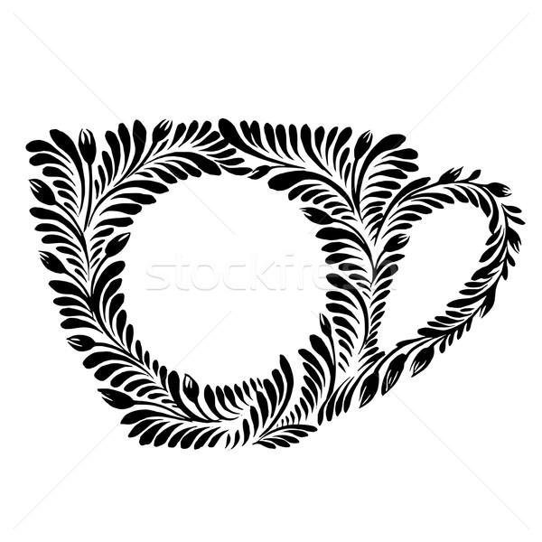 Dekoratif siluet çay fincanı vektör artistik grunge Stok fotoğraf © VectorFlover