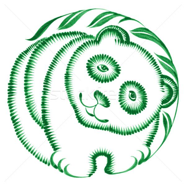 フローラル 装飾的な 飾り パンダ 手描き 実例 ストックフォト © VectorFlover