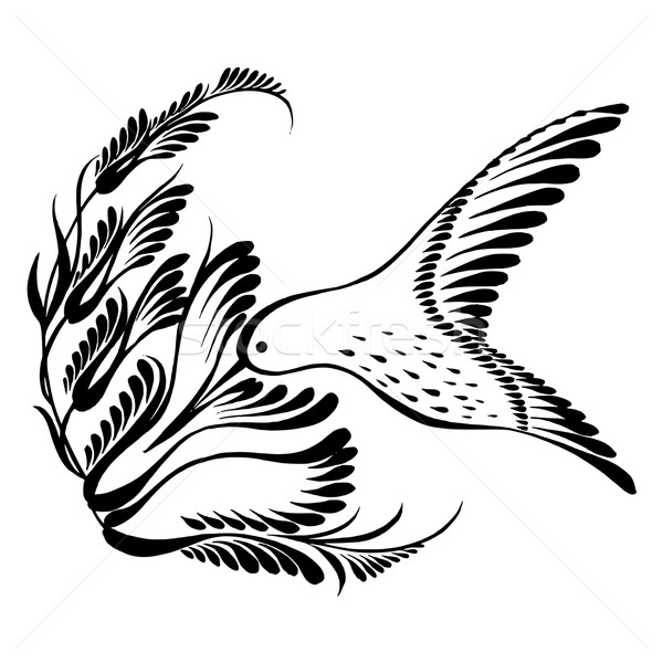 decorative silhouette hummingbird in flight Stock photo © VectorFlover