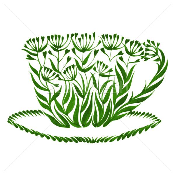 Dekoratif süs çay fincanı örnek yaprak Stok fotoğraf © VectorFlover