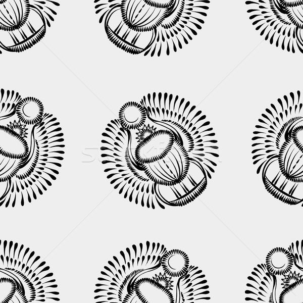 черно белые скарабей жук Египет цветок Сток-фото © VectorFlover