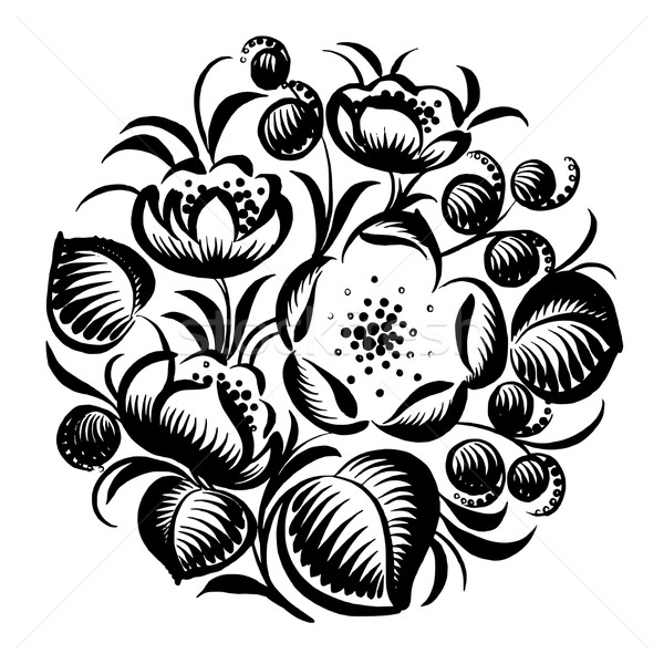 decorative silhouette floral circle Stock photo © VectorFlover
