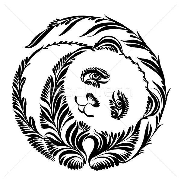 decorative silhouette of panda Stock photo © VectorFlover