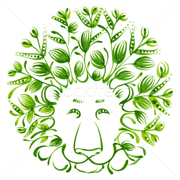 Stock photo: floral decorative ornament lion