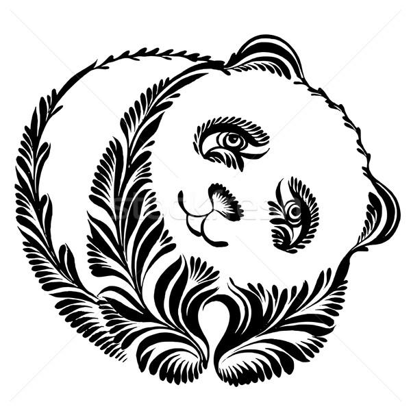decorative silhouette of panda Stock photo © VectorFlover