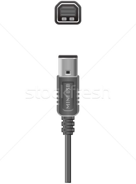 Kabel komputerowy usb typu wtyczkę gniazdo komputera Zdjęcia stock © Vectorminator