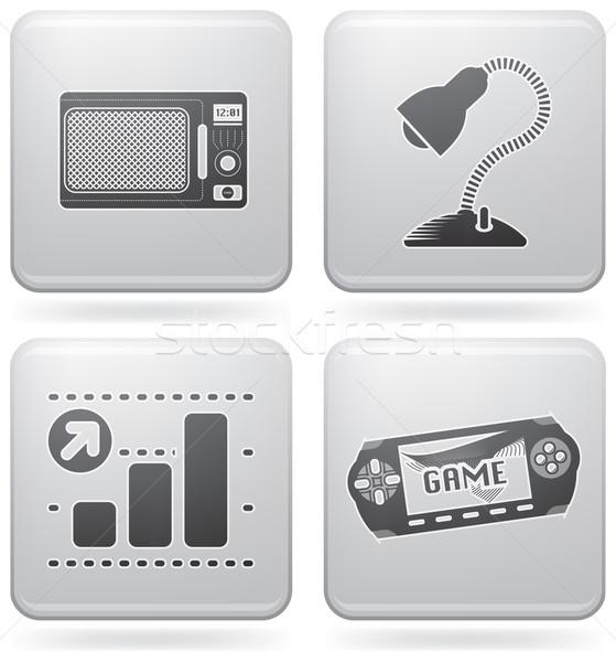 Сток-фото: веб · набор · повседневный · иконки · платина