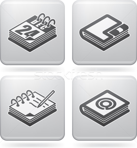 Iroda ellátás tárgyak naptár címkönyv gyűrű Stock fotó © Vectorminator