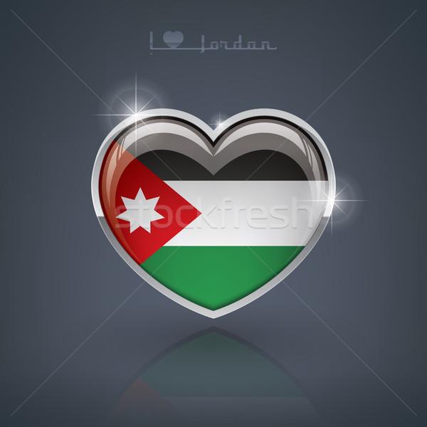 ヨルダン 心臓の形態 フラグ 王国 中心 ストックフォト © Vectorminator