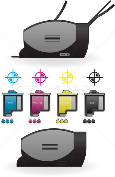 Mürekkep püskürtmeli yazıcı ev renk fotoğraf yandan görünüş Stok fotoğraf © Vectorminator
