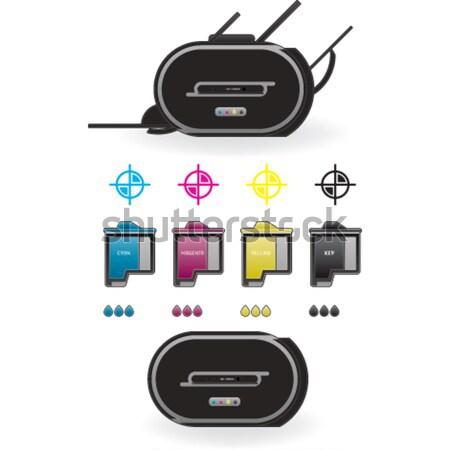 インクジェット プリンタ ホーム 色 写真 側面図 ストックフォト © Vectorminator