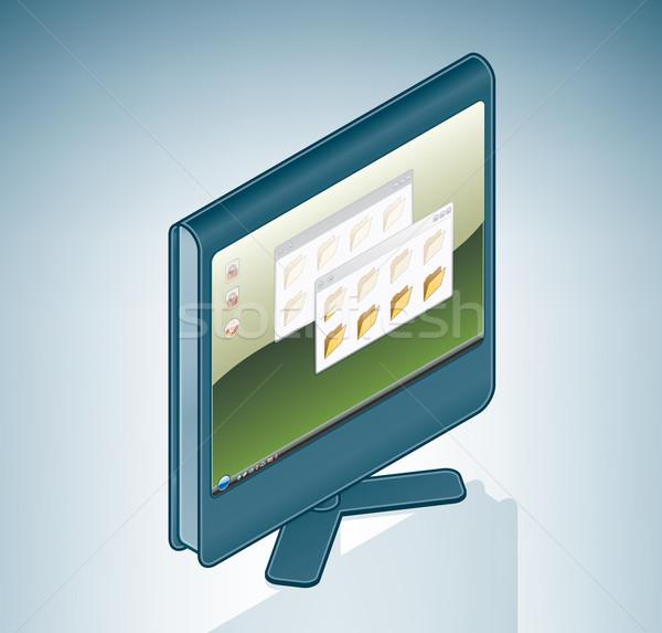 Ordenador LCD Screen 3D hardware Foto stock © Vectorminator