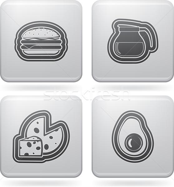 Ital étel ikon szett helyes felső fenék Stock fotó © Vectorminator